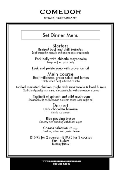Set Menu | Comedor Steak Restaurant